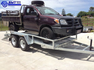Tandem Alxe Trailer 16X6 Car Trailer Adjustable Loading Ramp (SWT-CT126) pictures & photos