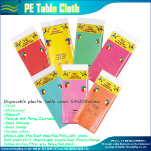 Disposable Waterproof PE Table Cover (NF18P02002) pictures & photos