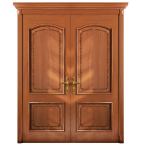 Oppein Entrance Cherry Wood Veneer Double Leaf Exterior Door (MSGS08) pictures & photos