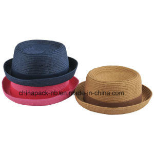 Straw Bowler Boater Hat for Kids (CPA_13028) pictures & photos