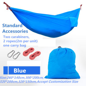 Carries Parachute Nylon Hammock Outdoor Portable Camping Hammock with Carabiners pictures & photos