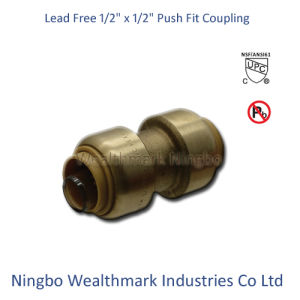 "Lead Free Brass 1/2"" Equal Coupling Push Fit Fitting pictures & photos"
