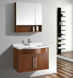 Wood Veneer Bathroom Vanity #Yjb-2012 (9) pictures & photos