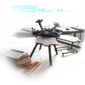 Manual Garment 6-Color Rotary Screen Printing Machine with 6 Worktable pictures & photos