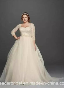 3/4 Sleeves Bridal Gowns Plus Size Lace Bodice Tulle Organza Custom Wedding Dress Ya109 pictures & photos
