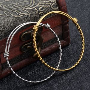 Factory Supply Vintage Pattern Twisted 316L Stainless Steel Wire Expandable Bangle Bracelets pictures & photos