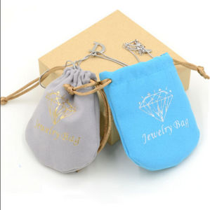 Doule Side Suede Fabric Drawstring Jewelry Bag with Golden Printing pictures & photos