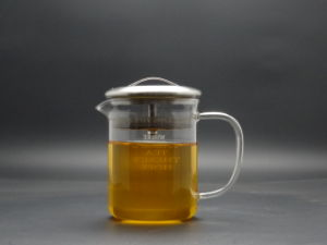 500ml Singlge Wall Hand Made Borosilicage Glass Teapot with Steel Lid pictures & photos
