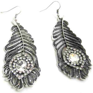 Fashion Jewelry Metal Feather Drop Earrings with Nickel-Free Antique Silver Plating, Her-10520