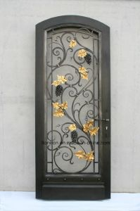Exterior Wrought Iron Single Door with Grapes and Leaves pictures & photos