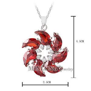 Red Flower CZ Stone Pendant (DZ1099)