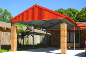 China gable roof prefab light steel structure carport kxd for Gable roof carport price