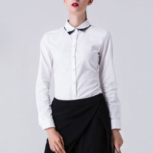 Ldies Contract White Cotton Long Sleeve Office Wear Formal Shirt pictures & photos