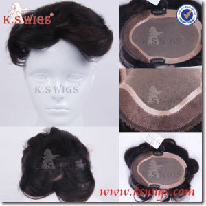 100% Full Lace Brazilian Remy Human Hair Mens Toupee pictures & photos