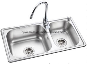 Stainless Steel Handmade Kitchen Sink with Soap Container (QW-7843) pictures & photos