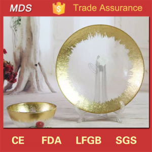 Tableware Clear Charger Glass Gold Rim Round Plate for Wedding pictures & photos