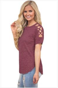 Crisscross Detail Short Sleeve T-Shirt pictures & photos