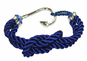 2013 Newest Product Fashion Nautical Rope Cotton Women and Men Bracelet with Gold Plated Stainless Steel Sailor Anchor Hook Jewelry (RD-JSB0027)