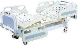 Movable Full-Fowler Hospital Patient Bed with ABS Board pictures & photos
