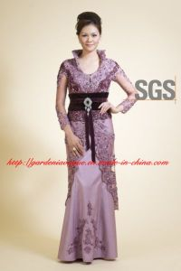 Fashion High Neck Elegant Purple Lace Long Sleeves Brown Belt Corset Long SGS Mother of The Bride Dress (GDNY087)