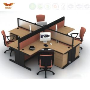 Four Seats Work-Station with Steel Foot and Desktop Partition pictures & photos