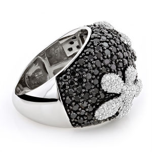 Black CZ Diamond Flower Silver Ring 925 Silver Jewelry pictures & photos