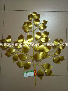 Gold Fake Synthetic Artificial Ficus Banyan Leaves