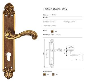 Solid Brass Design Door Handle Mortice Lock (U039-039L-AG)