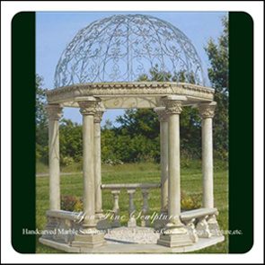 Natural Outdoor Garden Stone Marble Carved Column Pillar Gazebo For Sale
