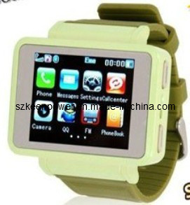 "GSM Quadband Watch Mobile Phone, 1.8""Touch LCD, 0.3MP Camera pictures & photos"