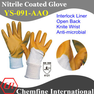 Interlock Glove with Anti-Microbial Orange Nitrile Coating & Open Back & Knit Wrist/ En388: 4121 (YS-091-AAO) pictures & photos