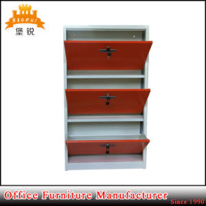 Popular Metal Three Drawer Shoe Storage Cabinet with Competitive Price pictures & photos