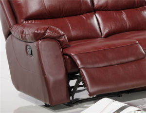 Sofa 1+2+3 with Manual Recliner Leather Sofa pictures & photos