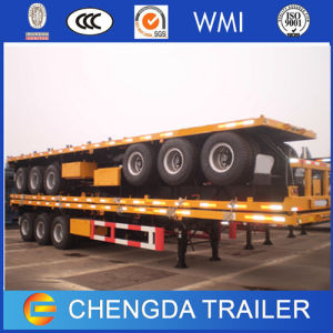 Low Price 3 Axle 40t Container Flat Bed Semi Trailer for Sale pictures & photos