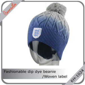 Fashionable DIP Dye Beanie with Woven Label