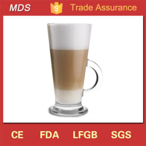 Hot Selling Glass Latte Coffee Cup with Handle and Saucer pictures & photos