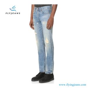 Top Design Fashion Slim-Straight Men Jeans 100% Denim with Paint & Repaired Holes (Pants E. P. 4121) pictures & photos