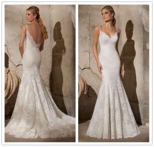 2015 China Supplier V-Neck Rhinestones Straps Wedding Dress Backless