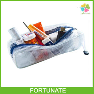 Clear Solid PVC Mesh Plastic Makeup Pouch with Zipper Closure pictures & photos