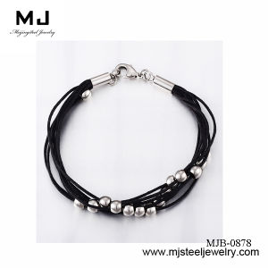 Genuine Handmade Leather Bead Stainless Steel Bracelet Mjb-0878