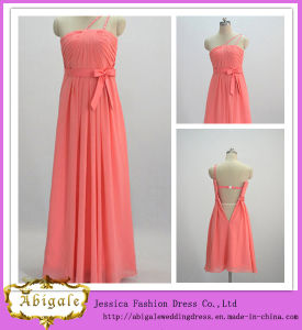 Strapless Sleeveless One Shoulder Formal Bridesmaid Dresses Coral Color (MI 3511)