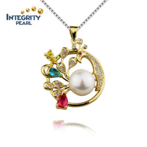 9mm AAA Button Gold Plated Freshwater Pearl Pendant Silver