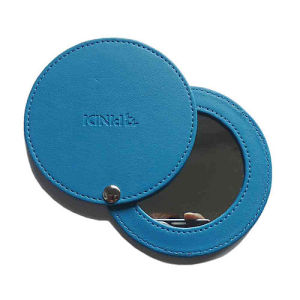 Promotional PU Leather Compact Makeup Mirror with Stamp Logo (B2003)