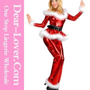 4PC Fluffy Santa Girl Costume Christmas Sexy Clubwear pictures & photos