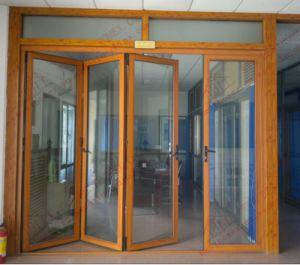 Woodgrain Aluminium Accordion Door with Top Fanlight (BHA-DBF06) pictures & photos