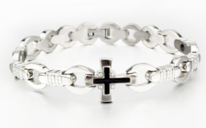 Stainless Steel Cross Bless Words Anion Magnetic Energy Bracelet pictures & photos