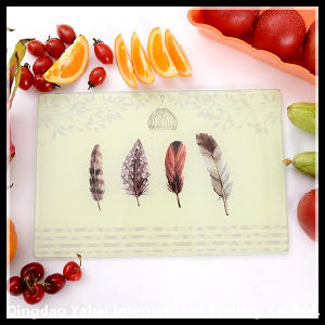 Rectangle Tempered Glass Placemat with Feather Pattern pictures & photos