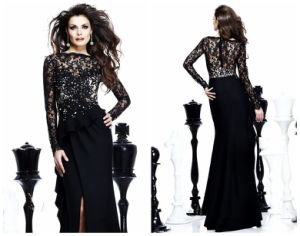 High Collar a Line Lace and Stain Evening Dresses with Sleeves (XYN-198)