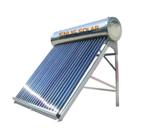 Compact Passive Unpressurized Vacuum Tube Solar Water Heater with Aluminum Alloy Frame pictures & photos