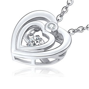 Double Heart 925 Silver Pendants Necklace with Dancing Diamond Jewelry pictures & photos